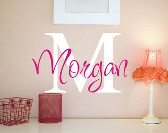 Large Vinyl Wall Decal - Custom Monogram Vinyl Lettering - Childrens Wall Decals