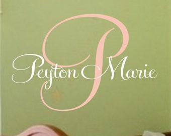 Childrens Wall Decal Baby Nursery Personalized Monogram - Vinyl Lettering - Childrens Decor- Vinyl Decal