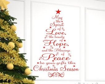 Christmas Decor, Christmas Wall Decal, Christmas Prayer Vinyl Lettering Wall Decal, Christmas tree Vinyl Decal Wall Art
