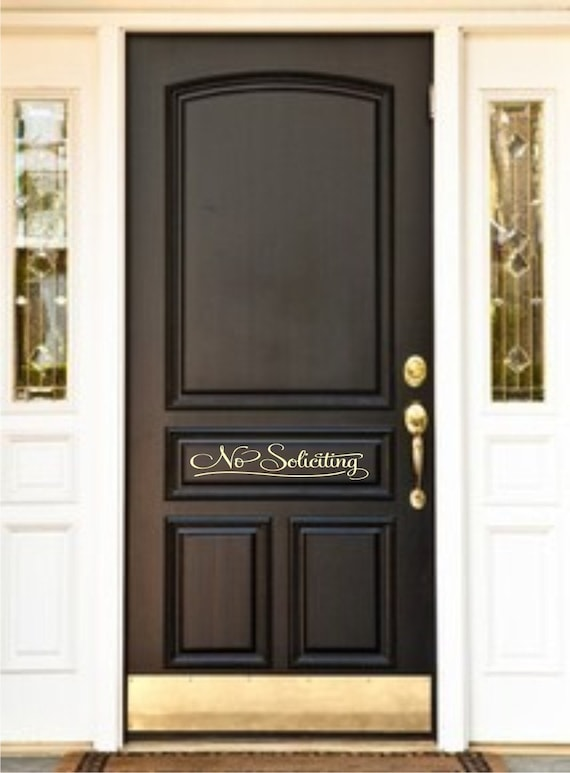 No soliciting door vinyl lettering by justthefrosting on etsy for Door vinyl design