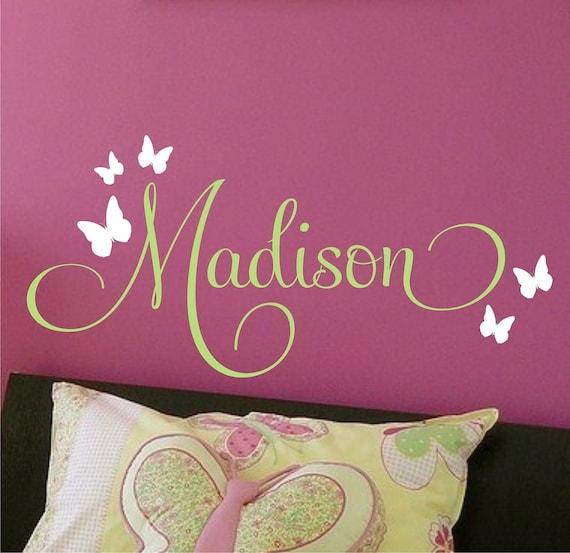 Wall Decor Children Decor Butterflies Nursery Monogram Vinyl Wall Decal - Vinyl Lettering Wall Art