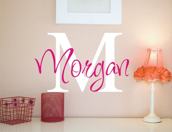 large vinyl wall decal custom monogram vinyl lettering