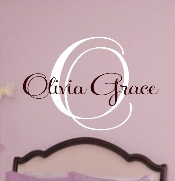 Childrens Wall Decal Custom Name Monogram -Great for a baby nursery, young girl, or teen's bedroom