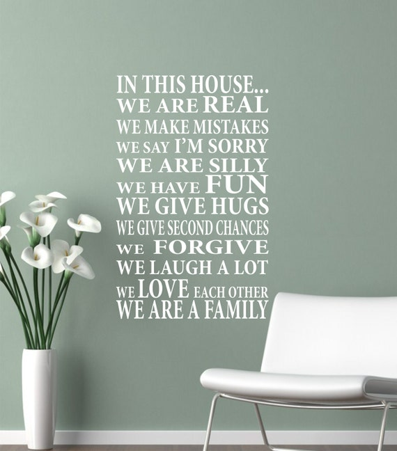 Wall Decal In This HouseWe Are Family Vinyl Lettering - House wall decals