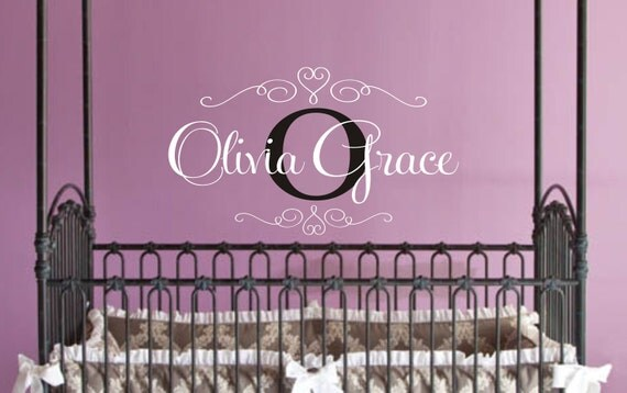 Name Decal - Personalized Childrens Decor Baby Nursery Monogram Vinyl Name Wall Decal, Vinyl Lettering Wall Art Decal