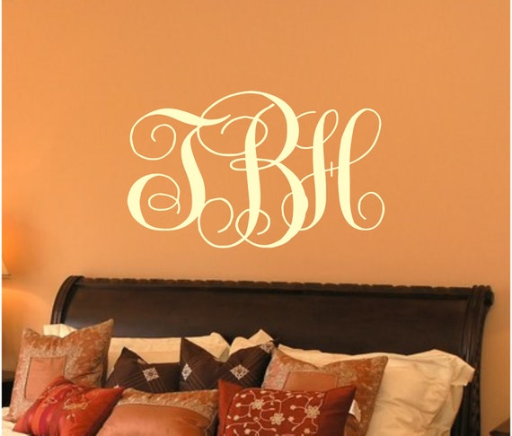 personalized monogram initial vinyl wall decal for master