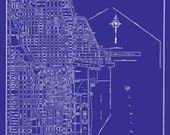 1944 Chicago Street Map Vintage Blueprint  Print Poster