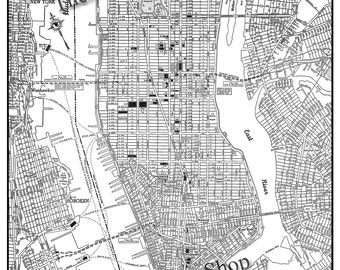 New York City Map 1944 New York City Manhattan Street Map Vintage