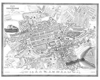 1844 Vintage Map Of Edinburgh Scotland  11x14