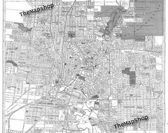 San Antonio Street Map Vintage Print Poster