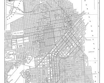 San Francisco Map - Street Map Vintage Print Poster