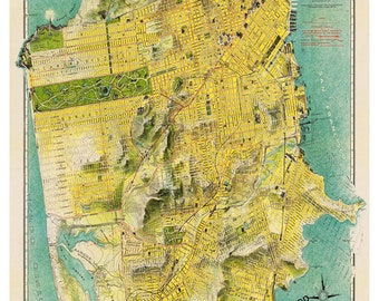 San Francisco Map - Street Map Print Poster
