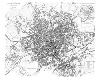 Vintage Map - Birmingham England Street Map