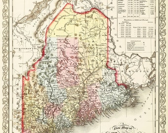1859 Map Of Maine Vintage