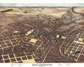 Vintage 1873 San Antonio Map Bird's Eye View