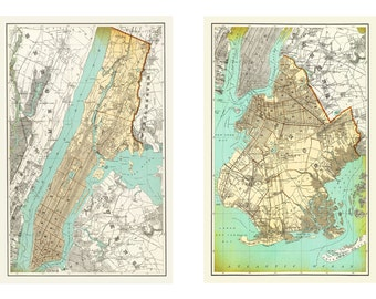 New York City Map New York and Brooklyn Maps Set (2) 1895 Print Poster