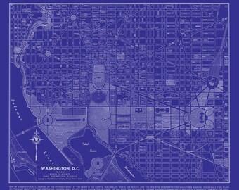 Washington DC Map - Street Map Vintage Blueprint Print Poster