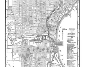 Milwaukee Map - Street Map Vintage Poster Print