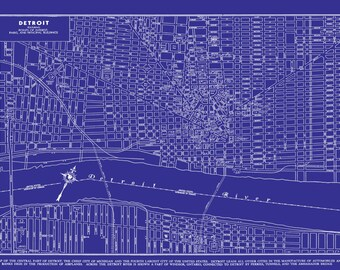 1949 Detroit Street Map Vintage Blueprint Print Poster