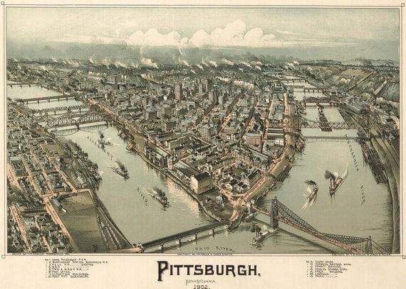 Pittsburgh Map Panoramic Birds Eye View Map of Pittsburgh Print Poster