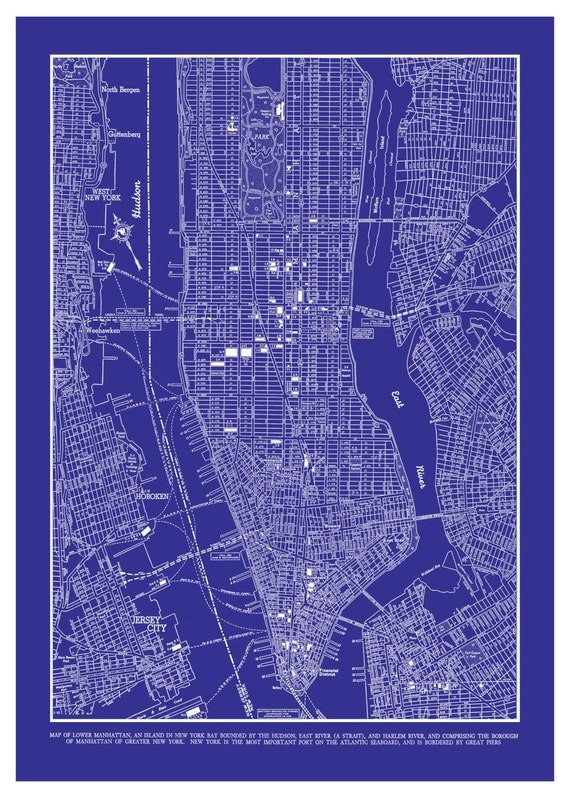 1944 New York City Manhattan Street Map Vintage By TheMapShop