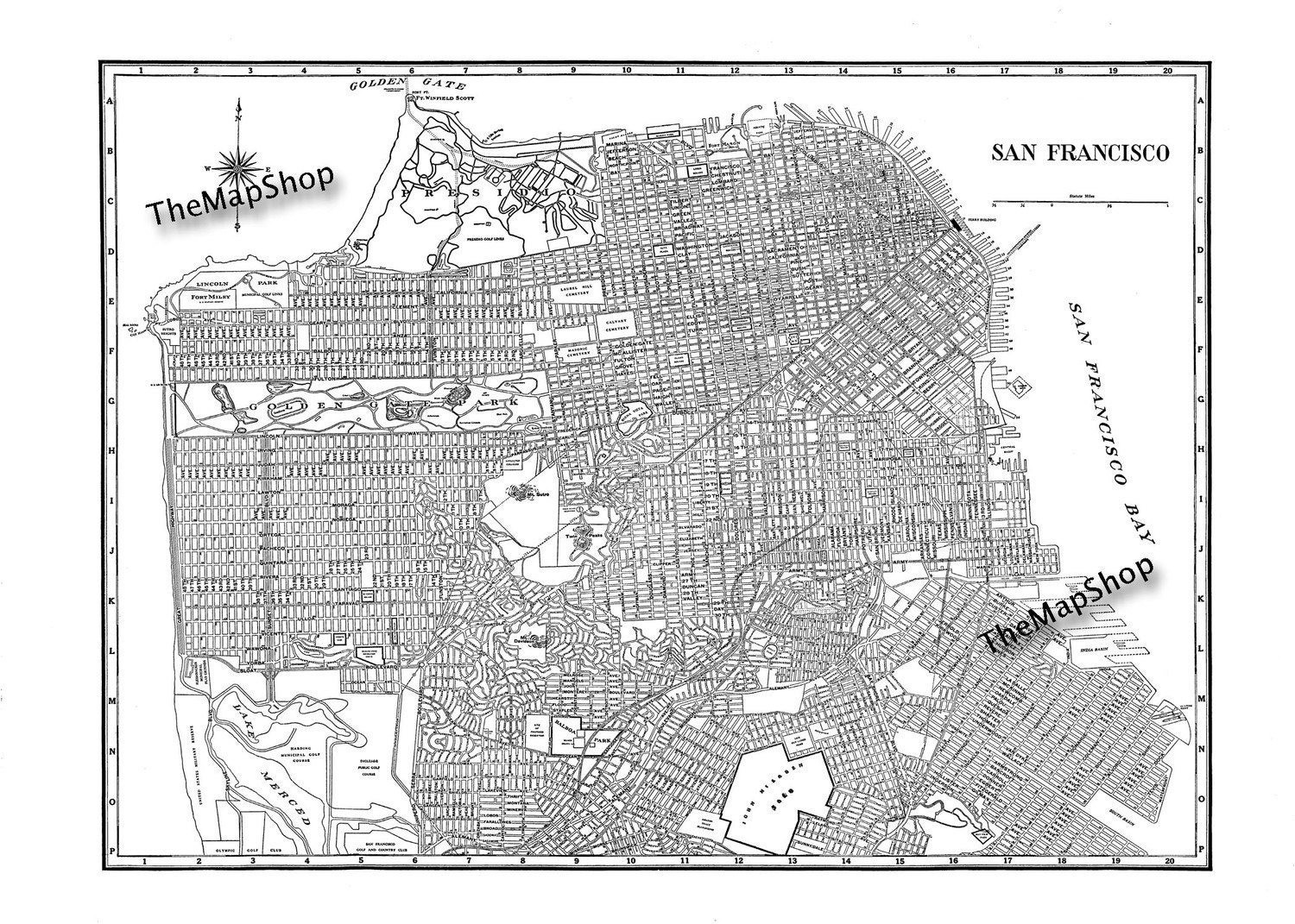 It is a graphic of Vibrant Printable Maps of San Francisco