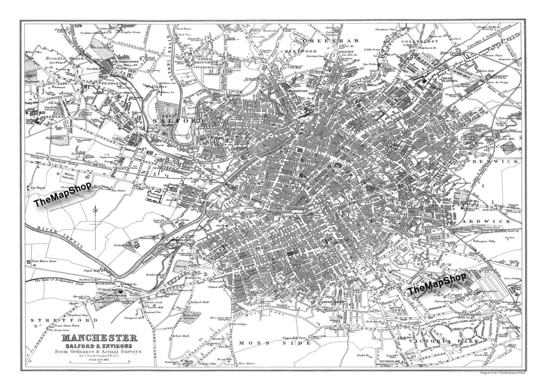 Vintage Map Of Manchester England Vintage Map Print Poster