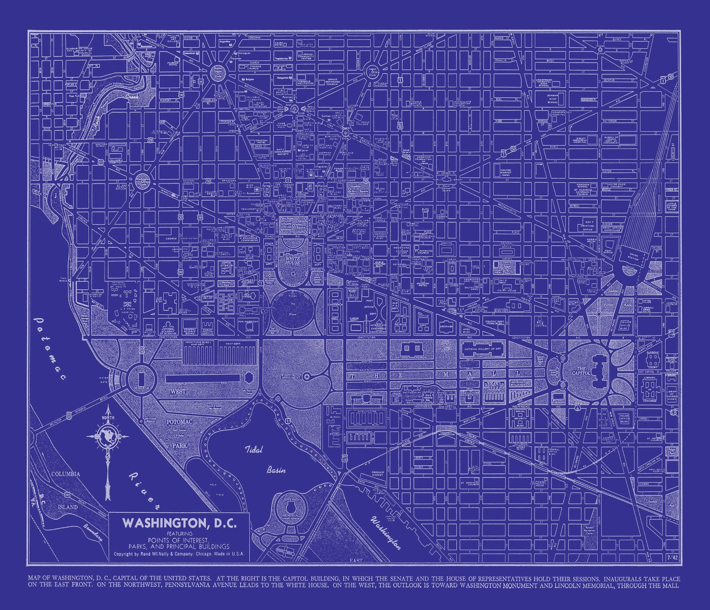 Washington dc map street map vintage blueprint print poster Print blueprints