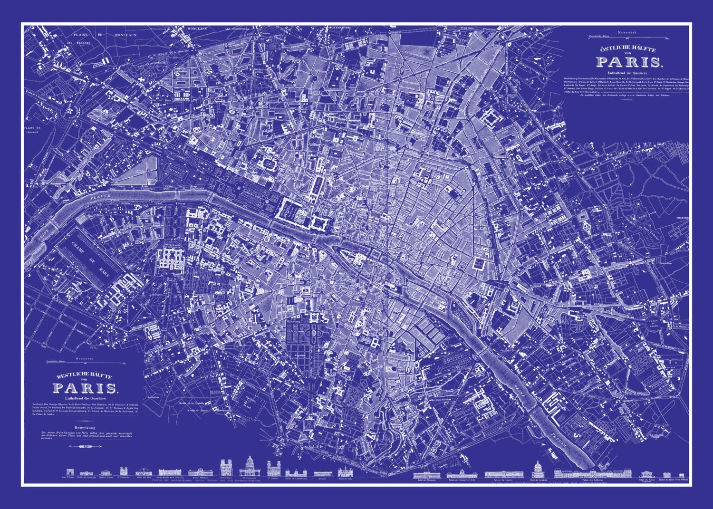 Préférence Paris Street Map Blueprint Vintage Poster Print PG13