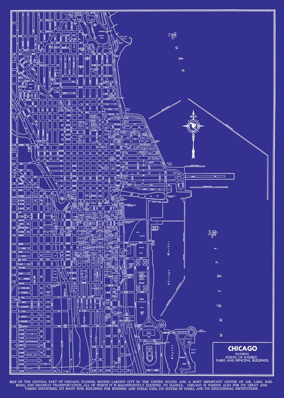 Chicago Street Map Vintage Blueprint Print Poster - Us map blueprint