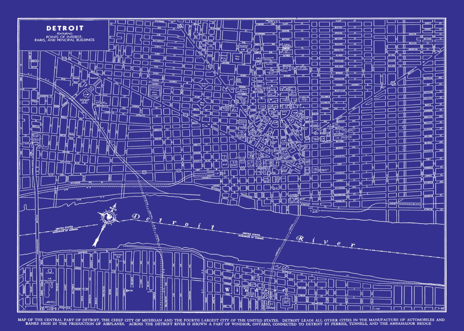 1949 detroit street map vintage blueprint print poster for Where to print blueprints