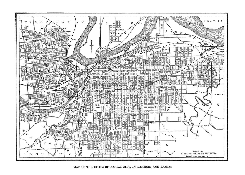 Kansas City Map Street Map Vintage Print Poster - Map of kansas city