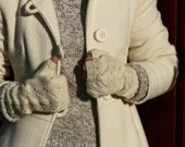 Lacey fingerless gloves, handwear, wristwarmers, wool