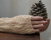 Beige lacey fingerless gloves,handwear, wristwarmers - 100% cotton