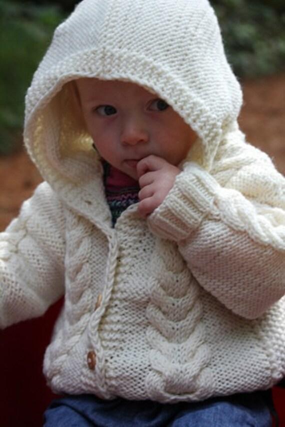 Hand knitted merino wool hooded jacket