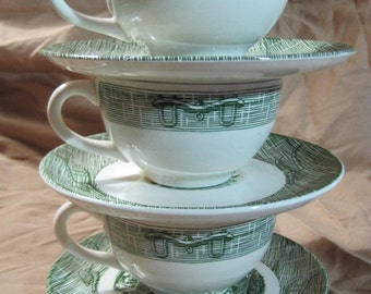"Vintage Royal China ""Green Tools"" Cups and Saucers Set of 3"