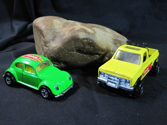 Vintage Mattel Hot Wheels Getty Vehicles - Pickup and VW Bug 1977 &1988