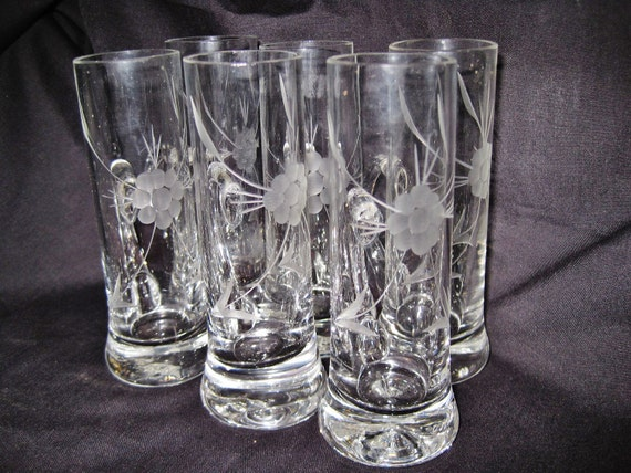 Vintage Bledfeld  Imported Hand-Blown Etched Glass Aperitif / Cordial Glasses Set Of 6