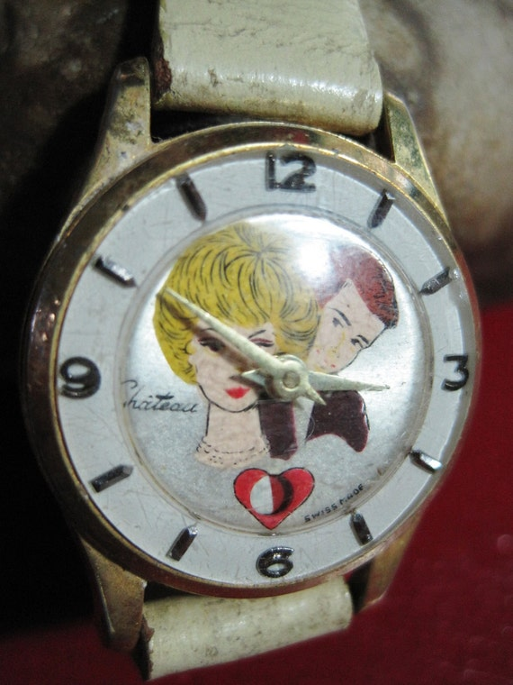 1964 Chateau Ken And Barbie Beating Heart Wrist Watch