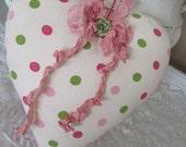 Fabric Heart - SALE - Shabby Cottage  - Nursery and Girl's room