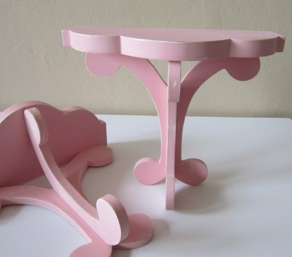 Shelves - Pink shelves- Girls room decor - wall decor - Shabby and chic - Cottage chic decor