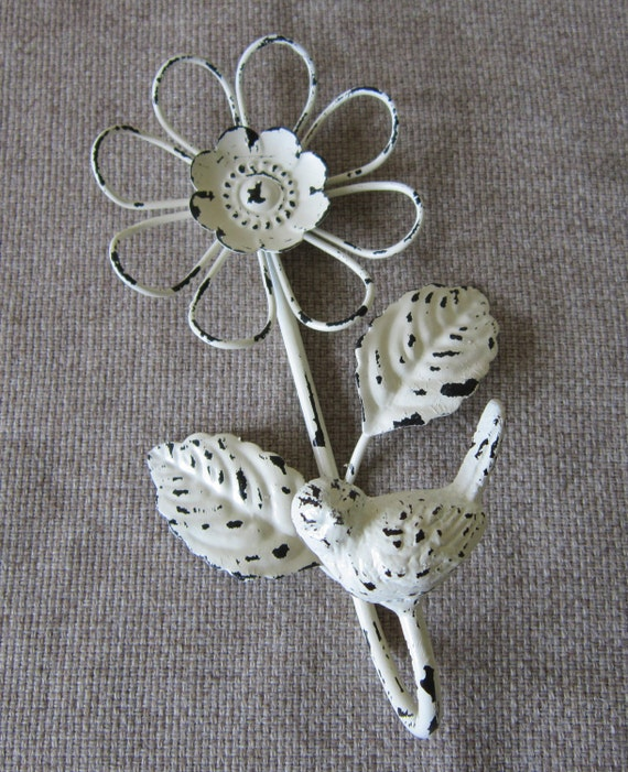 Metal wall hook - Bird and Flower hook - Home decor - Nursery - Shabby Cottage - French market
