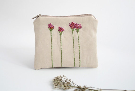 Embroidered Zipper Coin Purse, with Flowers