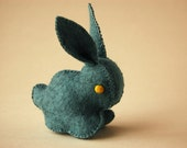 TEAL FELTED BUNNY Rabbit Pure Wool Felt Hand Made Unique Soft Animal Toy
