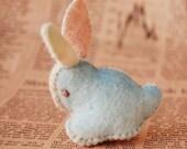 Pink and Light Blue Felt Bunny Rabbit Handmade OOAK