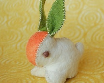 White Carrot Felted Bunny Rabbit Handmade Pure Wool FELT TOY ANIMAL Eco Friendly