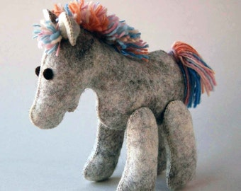 Baby HORSE Felt Toy Handmade Pure Wool -- BABY SHOWER Gift -- Felted Soft Sculpture