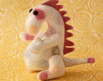 Dragon Felt Toy Handmade White Pink OOAK