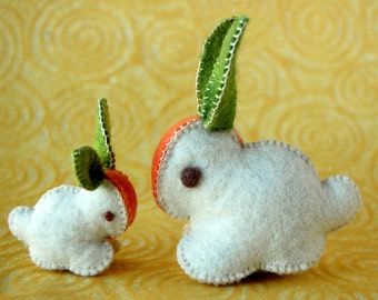 WHITE Carrot Bunny Rabbits FELT CUTE Toys Mother and Baby Handmade in Canada Washable
