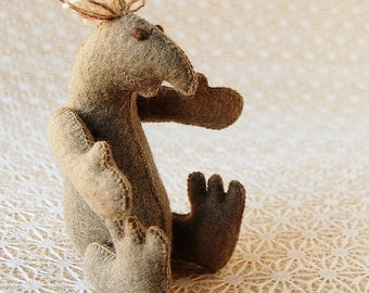 Grey Felt Guy Toy Handmade in Canada Pure Wool OOAK